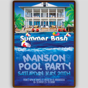 Mansion Pool Party Flyer