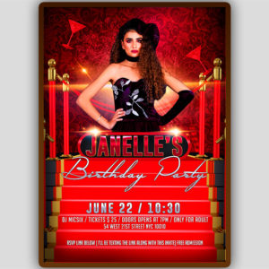 Red Carpet Birthday Flyer