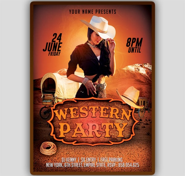 Western Party Flyer Template