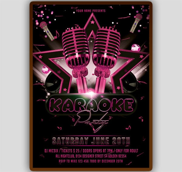 Girls Karaoke Flyer Template