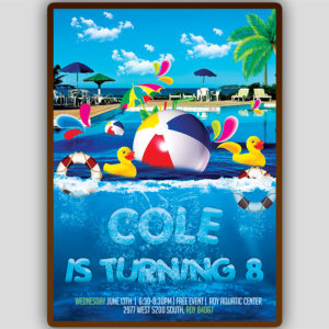 Pool Birthday Party Flyer