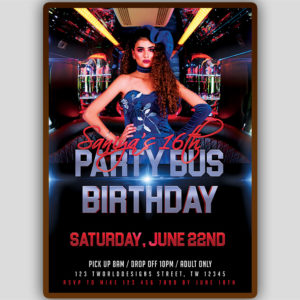 Party Bus Birthday Flyer
