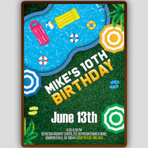 Pool Party Flyer Editable