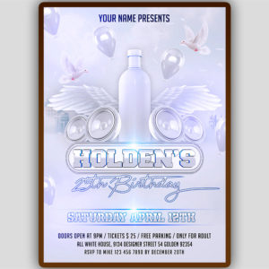White Birthday Party Flyer