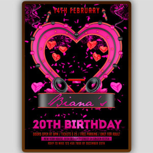 Pink Birthday Party Flyer Template