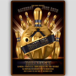Gold Bowling Flyer Template