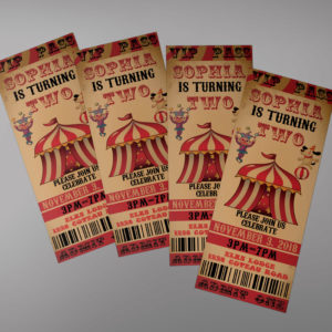 Circus Birthday Ticket Invitation