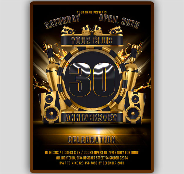 Club Anniversary Flyer Template