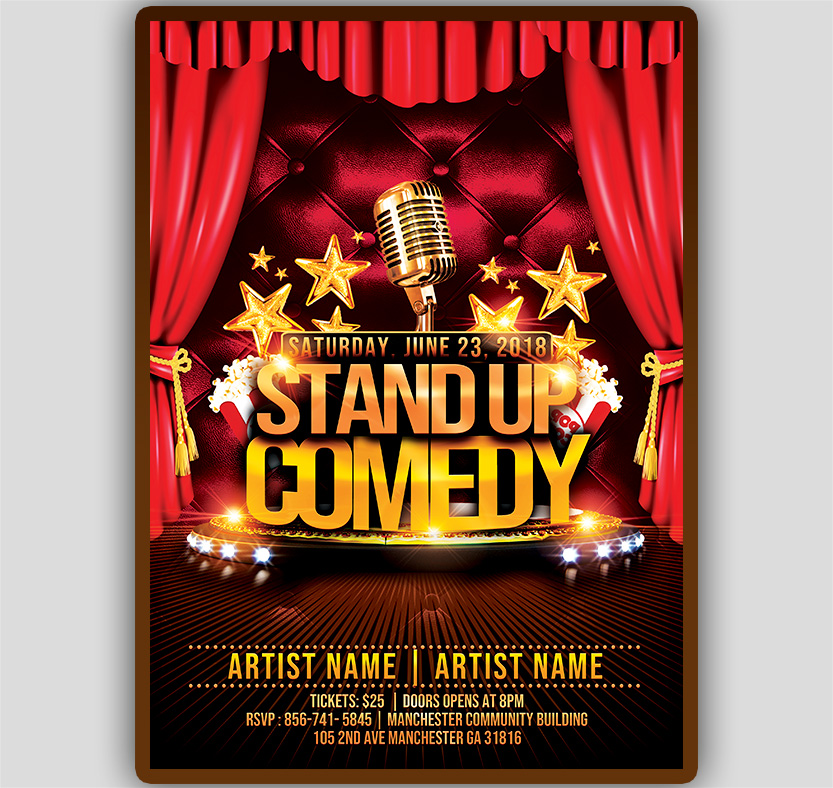 stand up comedy flyer template tworlddesigns download now. Black Bedroom Furniture Sets. Home Design Ideas