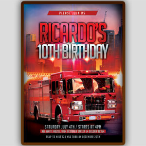 Fireman Birthday Invitation Template