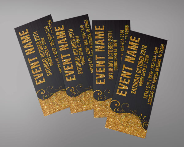 Gold glitter Ticket Design