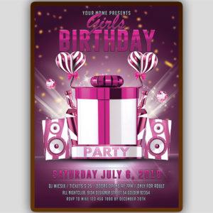 Girls Birthday Party Flyer