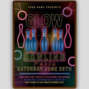 Glow Bowling Party Flyer