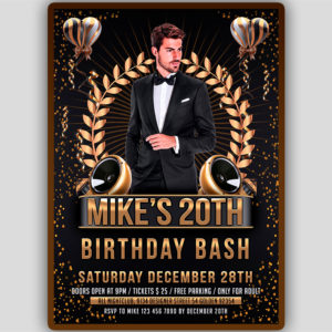 Adult Birthday Party Flyer Template