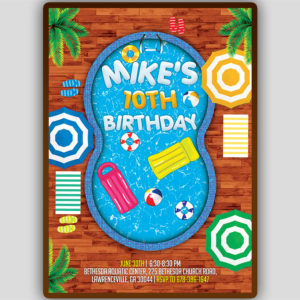 Pool Birthday Party Flyer Template