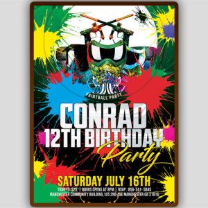 Paintball Birthday Invitation Template