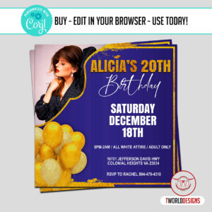 Blue and Gold Birthday Flyer