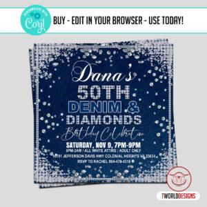 DIY Denim and Diamonds Birthday Party Flyer