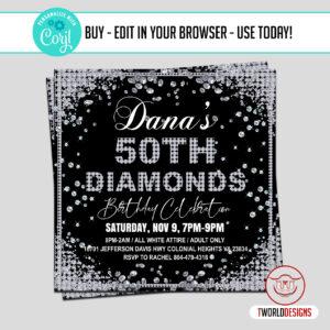 DIY Diamonds Birthday Party Flyer