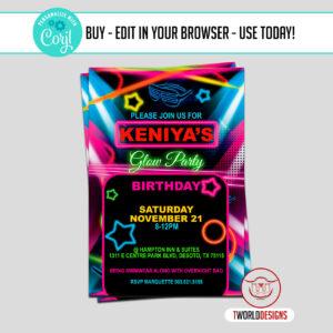 Glow Birthday Party Invitation Editable