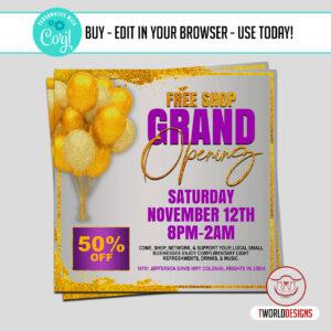DIY Grand Opening Sale Flyer Editable