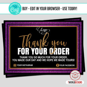 Purple Thank You Card Template