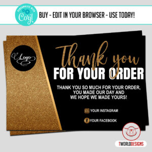 Gold Thank You Cards Editable with Corjl