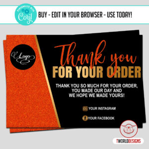 Orange Thank You for Your Purchase Cards