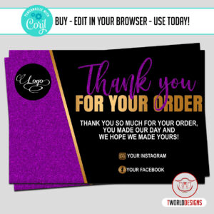 Purple Thank You Card for clients