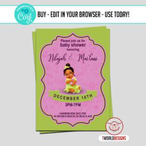 Editable Princess Tiana Baby Shower Invitation