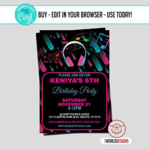 Editable TikTok Birthday Invitation