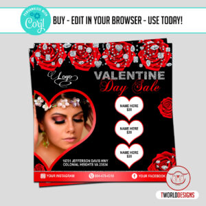 Valentines Day Sale Flyer Editable with Corjl