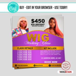 Wig Construction Class Flyer